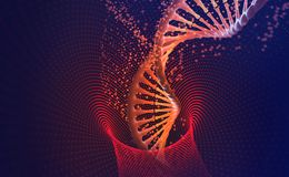 DNA-helix. Nanotechnology in medical research. Hi Tech in the field of genetic engineering royalty free illustration