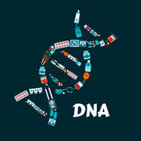 DNA helix with pharmaceutical, medicine flat icons Royalty Free Stock Photography