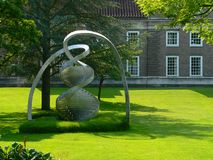 Dna helix statue. Huge modernist statue of dna seen in cambridge Royalty Free Stock Photo