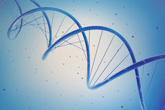 Dna helix strand genetic cells in blue Royalty Free Stock Images