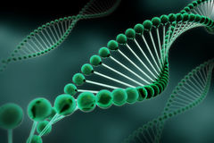 DNA Helix. A stylish green dna helix with a dark green background Stock Photography
