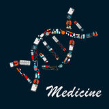 DNA helix symbol made up of medical sketch icons. DNA helix symbol made up of medicine bottles, pill, syringe, doctor, test tube, laboratory flask, lung, medical Stock Photos
