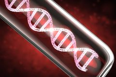 Dna helix in test tube. 3d rendering red dna helix in test tube stock photos