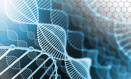DNA with hexagonal cell Stock Photo