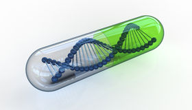 DNA i genomskinlig preventivpiller Arkivbild