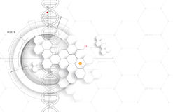 Dna i tło medyczny i technologia futurystyczna molekuła s ilustracja wektor