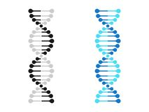 DNA ikony chromosomu genetyka DNA genu wektorowa molekuła ilustracji