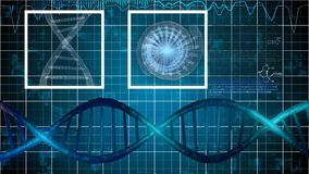 DNA Illustration on Blue Grid Stock Images