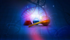 Dna and   laboratory. On abstract background Stock Photo