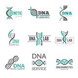 DNA logo Genetycznej nauki symboli/lów helix Biotech wektorowa biznesowa tożsamość ilustracja wektor