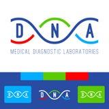 DNA-Logoweiß Stockfoto