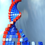 DNA made of game dice. Conceptual science illustration Stock Photography