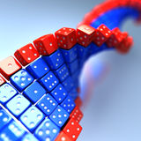 DNA made of game dice. Conceptual science  illustration Royalty Free Stock Images