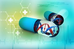 Dna med genetisk medicin, medicinskt teknologibegrepp 3d framför stock illustrationer