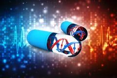 Dna med genetisk medicin, medicinskt teknologibegrepp 3d framför royaltyfri illustrationer