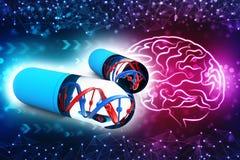 Dna med genetisk medicin, medicinskt teknologibegrepp 3d framför vektor illustrationer