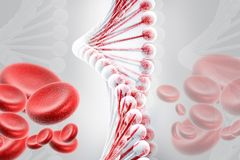 DNA met bloedcellen Royalty-vrije Stock Foto's