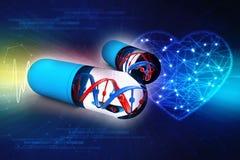 DNA met capsule op digitale achtergrond het 3d teruggeven Royalty-vrije Illustratie