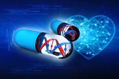 DNA met capsule op digitale achtergrond het 3d teruggeven Stock Illustratie