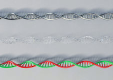 DNA. Metal, glass, plastic. 3d model DNA helix. Graphics Royalty Free Stock Image