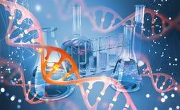 Dna microbiology vetenskapligt laboratorium Studier av den mänskliga genom royaltyfri illustrationer