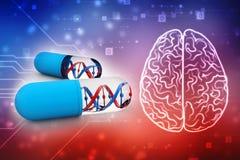 DNA mit genetischer Medizin, medizinisches Technologie Konzept 3d übertragen stock abbildung