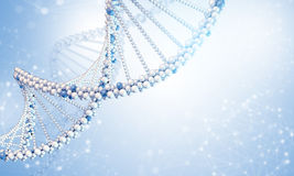 DNA model with blured wire-frame spheres. Blue gradient background Stock Photos
