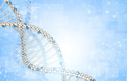 DNA model with blured wire-frame spheres and. Rectangles. Blue gradient background Stock Image