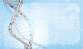 DNA model with blured wire-frame spheres and. Rectangles. Blue gradient background Stock Illustration
