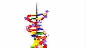 DNA model building up and down - stop motion. It`s about a DNA model building up and down again within 5 seconds. Stop motion stock video footage