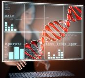DNA model on  futuristic hologram Stock Photos
