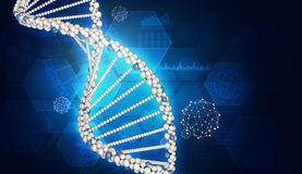 DNA model. Graphs, hexagons and wire-frame spheres as backdrop Stock Image