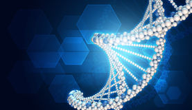 DNA model and hexagons Royalty Free Stock Images