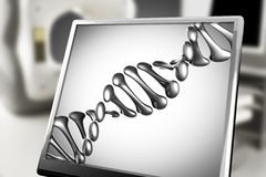DNA model on monitor in laboratory Royalty Free Stock Photos