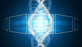DNA model with transparent rectangles and glow Royalty Free Stock Photos