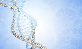 DNA models and blured smoke. Blue gradient background Royalty Free Stock Images