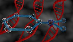 DNA and molecule. Biotechnology illustration: dna helices and molecule Royalty Free Stock Photography