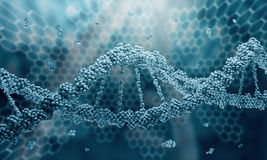 DNA molecule. Biochemistry background concept with high tech dna molecule stock photography