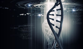 DNA molecule. Biochemistry background concept with high tech dna molecule royalty free stock photo
