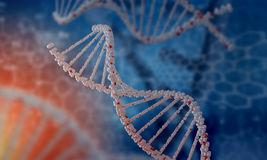 DNA molecule. Biochemistry background concept with high tech dna molecule stock image