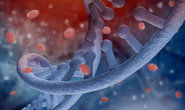 DNA molecule. Biochemistry background concept with high tech dna molecule and blood cells Royalty Free Stock Image