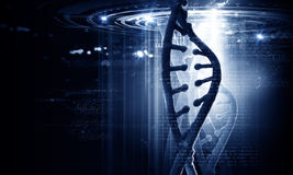 Dna molecule. Biochemistry concept with digital blue DNA molecule Royalty Free Stock Photos