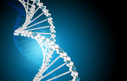 DNA molecule on blue Royalty Free Stock Photo