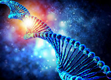 Dna molecule on blue background Royalty Free Stock Images