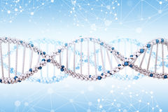 DNA molecule on blue Royalty Free Stock Image