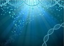 Dna and Molecule on blue background Royalty Free Stock Photography
