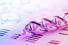 DNA, Molecule, Chemistry in laboratory lab test. Lighting in studio Royalty Free Stock Photos