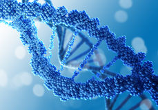 DNA molecule. Concept of biochemistry with dna molecule on blue background royalty free stock photo