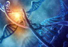 DNA molecule. Concept of biochemistry with dna molecule on blue background Stock Images