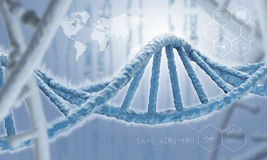DNA molecule. Concept image. Biochemistry science concept with DNA molecules on blue background Royalty Free Stock Image